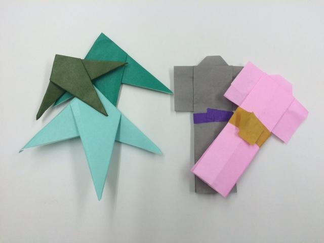 七夕飾り折り紙で簡単【星の吹き流し】【着物】【笹の葉】の作り方